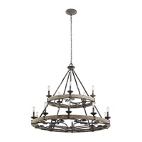 Kichler 43826WZC Taulbee 15 Light 44 inch Weathered Zinc Chandelier Ceiling Light