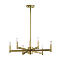 Erzo 6 Light 26 inch Natural Brass Chandelier Ceiling Light