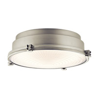 Kichler Hatteras Bay 1 Light Flush Mount in Brushed Nickel 43883NILED