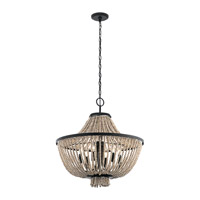 Brisbane 6 Light 24 inch Distressed Black Chandelier Ceiling Light, Medium