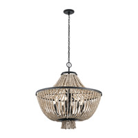 Brisbane 8 Light 30 inch Distressed Black Chandelier Ceiling Light, Large