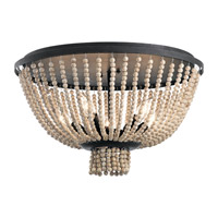 Brisbane 5 Light 18 inch Distressed Black Flush Mount Ceiling Light