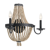 Brisbane 2 Light 18 inch Distressed Black Wall Bracket Wall Light