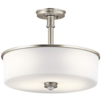 Kichler 43925NI Joelson 3 Light 18 inch Brushed Nickel Convertible Pendant/Semi Flush Ceiling Light in Standard