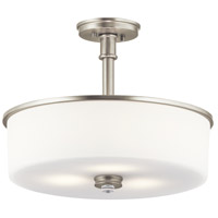 Joelson 3 Light 18 inch Brushed Nickel Convertible Pendant/Semi Flush Ceiling Light in LED, Dimmable