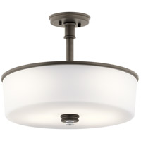 Kichler 43925OZ Joelson 3 Light 18 inch Olde Bronze Convertible Pendant/Semi Flush Ceiling Light in Standard