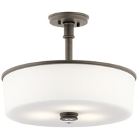Kichler 43925OZL16 Joelson 3 Light 18 inch Olde Bronze Convertible Pendant/Semi Flush Ceiling Light in LED, Dimmable