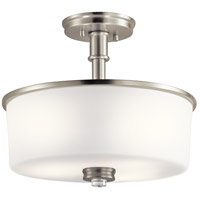 Kichler 43926NI Joelson 3 Light 14 inch Brushed Nickel Semi Flush Mount Ceiling Light in Standard