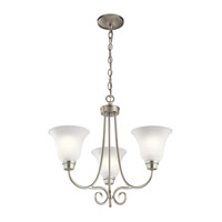 Kichler 43937NIL16 Bixler 3 Light 22 inch Brushed Nickel Chandelier Ceiling Light in LED, Dimmable