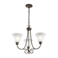 Kichler 43937OZ Bixler 3 Light 22 inch Olde Bronze Chandelier Ceiling Light in Standard