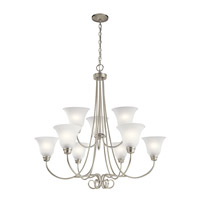 Kichler 43939NI Bixler 9 Light 35 inch Brushed Nickel Chandelier Ceiling Light in Standard
