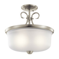 Kichler 43942NI Bixler 2 Light 14 inch Brushed Nickel Inverted Pendant Ceiling Light in Standard