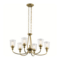 Waverly 6 Light 20 inch Natural Brass Chandelier Ceiling Light, Large, Oval