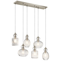 Riviera 6 Light 12 inch Brushed Nickel Chandelier Ceiling Light, Linear