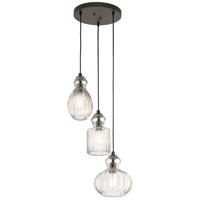 Kichler 43952OZ Riviera 3 Light 18 inch Olde Bronze Pendant Ceiling Light