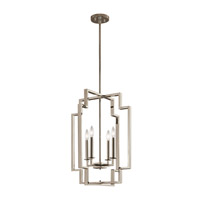 Kichler 43965PN Downtown Deco 4 Light 18 inch Polished Nickel Foyer Pendant Ceiling Light, Large