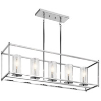 Crosby 5 Light 10 inch Chrome Chandelier Ceiling Light, Linear