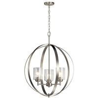 Kichler 44034NI Winslow 8 Light 25 inch Brushed Nickel Chandelier Ceiling Light, Medium