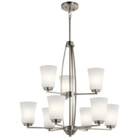 Kichler 44052NI Tao 9 Light 27 inch Brushed Nickel Chandelier Ceiling Light, 2 Tier