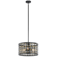 Kichler 44075BK Aldergate 3 Light 18 inch Black Semi Flush Mount Ceiling Light, Convertible