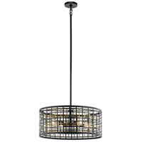 Kichler 44076BK Aldergate 4 Light 24 inch Black Chandelier Ceiling Light, Round