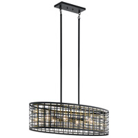 Kichler 44077BK Aldergate 6 Light 17 inch Black Chandelier Ceiling Light, Oval