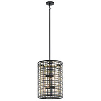 Kichler 44078BK Aldergate 6 Light 16 inch Black Foyer Pendant Ceiling Light