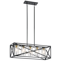 Kichler 44081BK Moorgate 5 Light 12 inch Black Chandelier Ceiling Light, Linear
