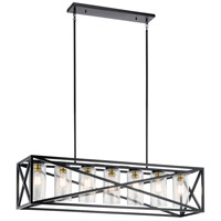 Kichler 44082BK Moorgate 7 Light 12 inch Black Chandelier Ceiling Light, Linear