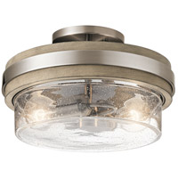 Grand Bank 2 Light 12 inch Classic Pewter Semi Flush Mount Ceiling Light