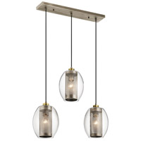 Asher 3 Light 9 inch Antique Pewter Chandelier Ceiling Light, Linear