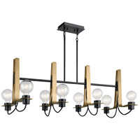 Kichler 44120BK Arvela 8 Light 16 inch Black Chandelier Ceiling Light, Linear