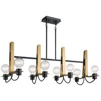 Kichler 44120BK Arvela 8 Light 16 inch Black Chandelier Ceiling Light Linear