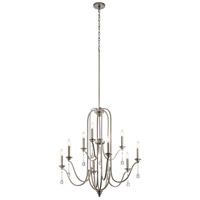 Kichler 44152CLP Karlee 9 Light 34 inch Classic Pewter Chandelier Ceiling Light, 2 Tier