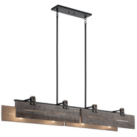 Kichler 44181BKT Ridgewood 8 Light 13 inch Textured Black Chandelier Linear Ceiling Light, Single