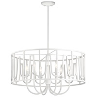 Sutton 6 Light 31 inch White Chandelier Ceiling Light, Round