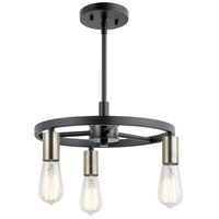 Kichler 44197MBK Brooklyn 3 Light 14 inch Matte Black Chandelier Ceiling Light