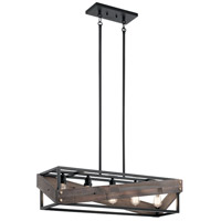 Fulton Cross 5 Light 10 inch Black Chandelier Ceiling Light, Linear