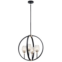 Kichler 44239BK Moyra 4 Light 24 inch Black Chandelier Ceiling Light, Medium