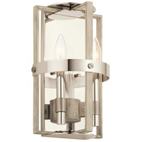 Kichler 44292WWW Peyton 2 Light 8 inch White Washed Wood Wall Sconce Wall Light