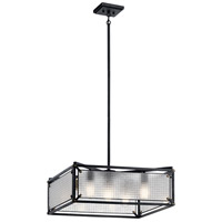 Steel 5 Light 25 inch Distressed Black Chandelier Ceiling Light, Medium