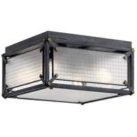 Kichler 44336DBK Steel 4 Light 16 inch Distressed Black Flush Mount Light Ceiling Light