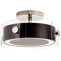 Tig LED 15 inch Walnut Wood Semi Flush Mount Ceiling Light