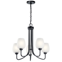 Kichler 44377BK Valserrano 5 Light 24 inch Black Chandelier Ceiling Light in Satin Etched Glass 1 Tier Medium