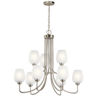 Kichler 44378NI Valserrano 9 Light 32 inch Brushed Nickel Chandelier Ceiling Light