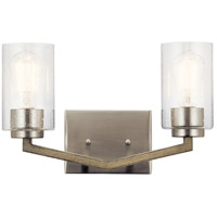 Kichler 45033DAG Deryn 2 Light 15 inch Distressed Antique Gray Bath Vanity Light Wall Light