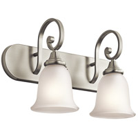 Kichler 45054NI Monroe 2 Light 18 inch Brushed Nickel Vanity Light Wall Light in Satin Etched Glass Incandescent