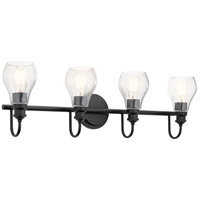 Kichler 45393BK Greenbrier 4 Light 33 inch Black Wall Mt Bath 4 Arm Wall Light