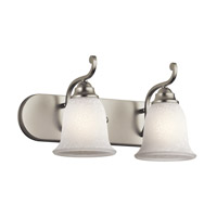Kichler 45422NI Camerena 2 Light 18 inch Brushed Nickel Wall Mt Bath 2 Arm Wall Light in White Scavo