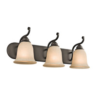 Kichler 45423OZ Camerena 3 Light 24 inch Olde Bronze Wall Mt Bath 3 Arm Wall Light in White Scavo W/Light Umber Inside Tint